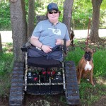 action chair provides Tanner freedom in the outdoors